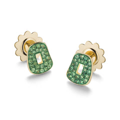 Puzzle stud Earrings in 18K gold and colored gemstones|Orecchini Puzzle in oro 18K e pietre colorate
