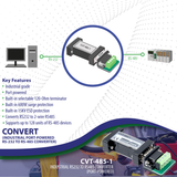 RS232 to RS485 Converter / Adapter (Industrial / Port-Powered)