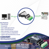 25-pin RS232 to RS485 / RS422 Converter (Industrial / Port-Powered)