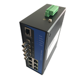8-Port Managed Ethernet Switch / Redundant-Ring Fiber Optic Converter (Industrial / Single-Mode / ST)