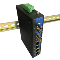 6-Port Unmanaged Ethernet Switch / Daisy-Chain and Star Fiber Optic Converter (Industrial / Single-Mode / ST)
