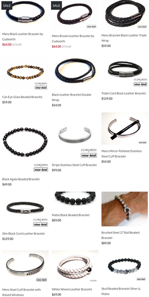 Minor Detail's top 15 Mens Bracelets of 2017. Includes bracelets made from leather, sterling silver, steel and CZ.