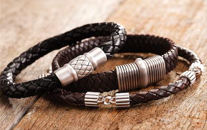 Mens Leather Bracelet designs in black and brown leather by Cudworth Jewellery Australia