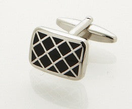 Black Enamel 'Criss-Cross' Cufflinks by Cudworth