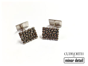Square Pebbled Silver Cufflinks