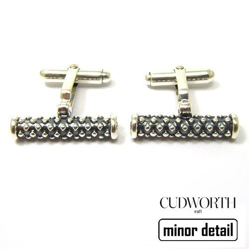 Roll Studded Oxidised Silver Cufflinks