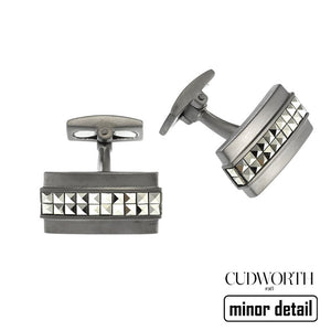 Oxidised Silver Cufflinks with Cubic Zirconia by Cudworth Australia