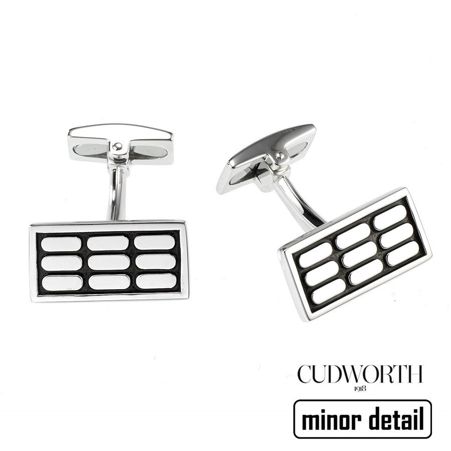 Contrast Pattern Silver Cufflinks by Cudworth Sydney