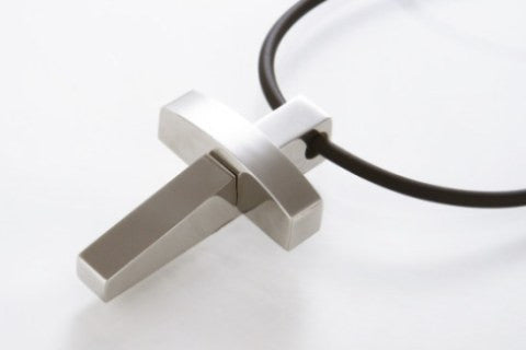 Small Cross Necklace in Chunky Stainless Steel