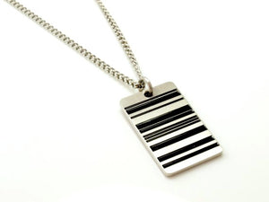 Dog Tag Necklace Reversible in Barcode Design