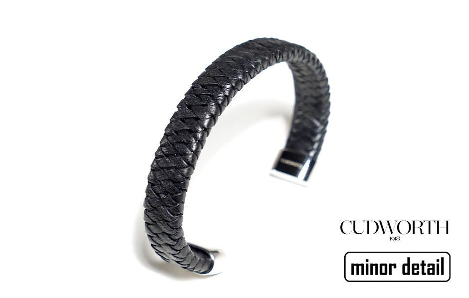 Premium Mens Leather Cuff Bracelet in Black Leather by Cudworth