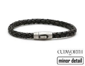 Slim Black Cord Leather Bracelet