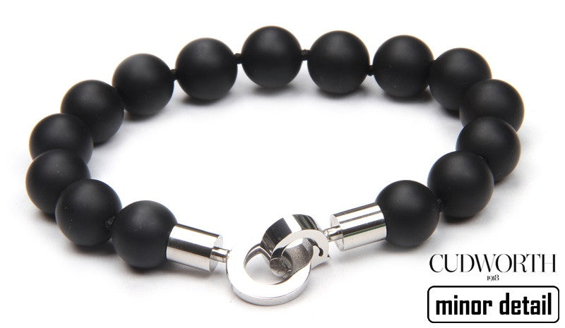 Ball beaded Bracelet in Black Agate with Stainless Steel clasp