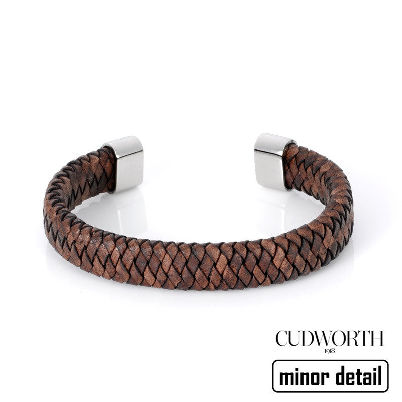 Mens Brown Leather Woven Cuff Bracelet Minor Detail