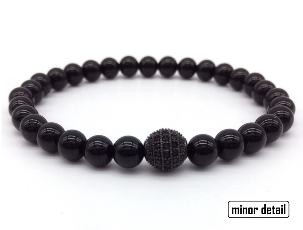 Black Agate Mens Beaded Bracelet with CZ Polished