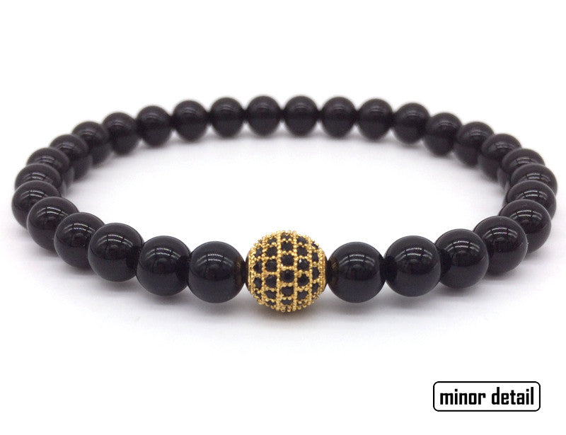 Black Agate CZ Beaded Bracelet with Gold Charm
