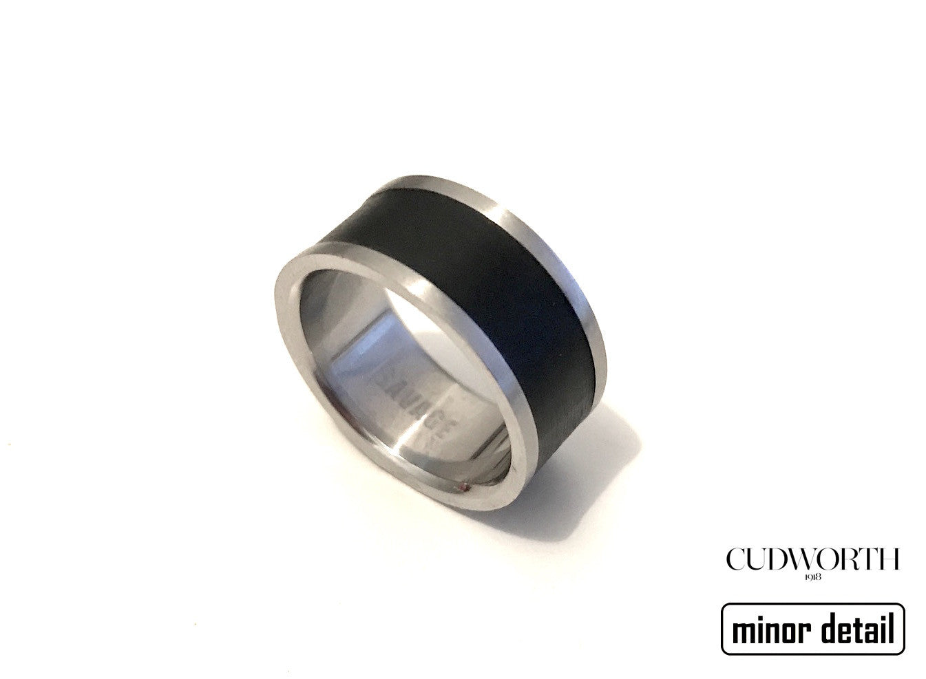 Mens Black Banded Steel Ring by Cudworth men's jewellery Australia.