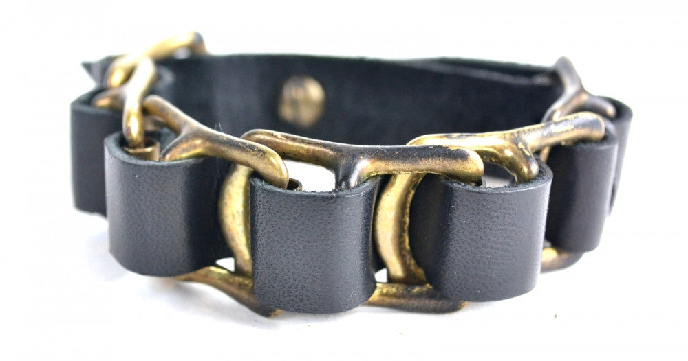 Black Leather Brass Buckle Bracelet