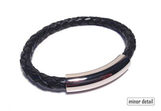 Black Leather Bracelet with Polished Clasp by Cudworth Sydney