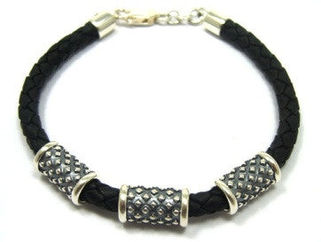 Gent's Black Leather and Sterling Silver Pendant Bracelet