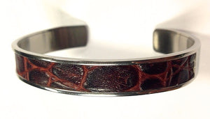 Mens Steel and Brown Leather Cuff