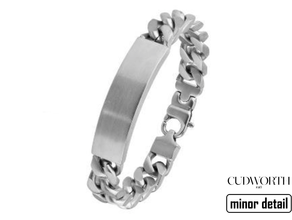 Cudworth ID Chain Link Bracelet for Men engravable.