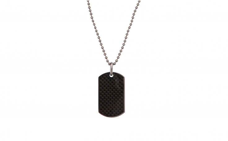 Carbon Fibre and Stainless Steel Mens Necklace with Dog Tag by Cudworth