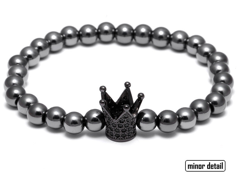 Black Crown CZ Beaded Bracelet
