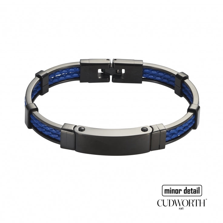 Cudworth Mens Bracelet in Black Steel with Blue Leather.