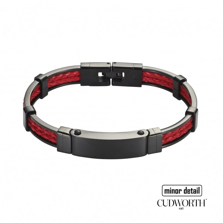 Black Stainless Steel Red Leather Bracelet by Cudworth Australia