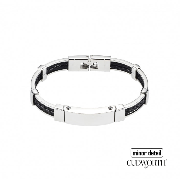 Mens Silver Frame Black Leather Bracelet by Cudworth