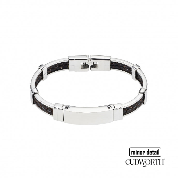 Cudworth Mens Silver Frame Brown Leather Bracelet in Australia