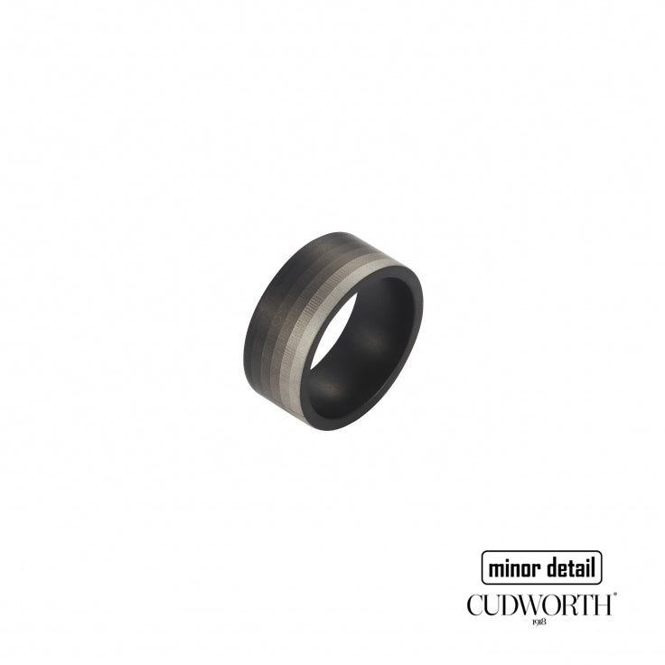 Cudworth Men's Steel Ring with Gradient Stripe Design
