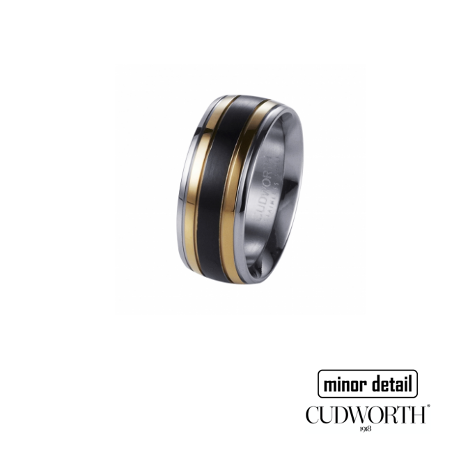 Mens Tri Colour Black, Gold and Steel Ring by Cudworth Australia
