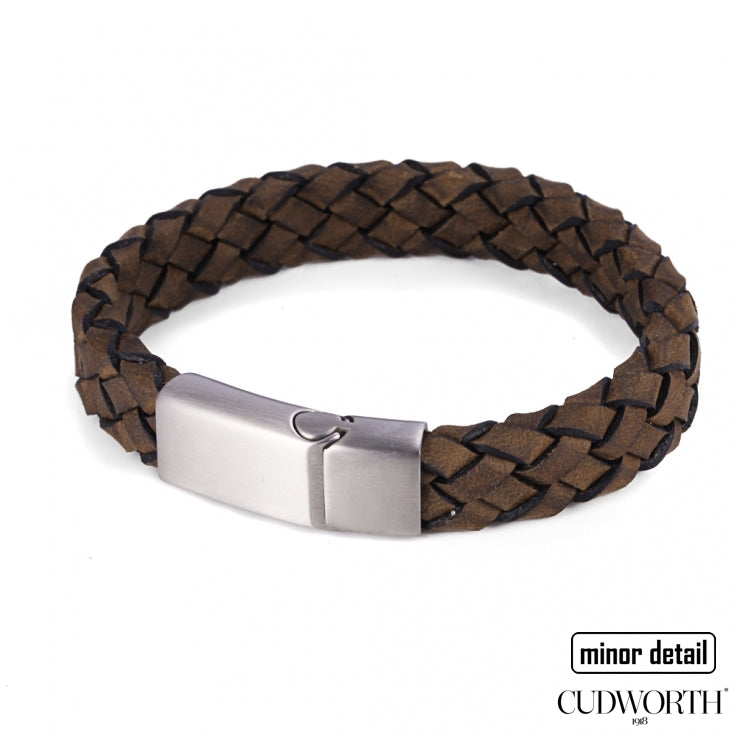 Mens Italian Woven Leather Bracelet in Brown with Steel Clasp - by Cudworth Jewellery Australia