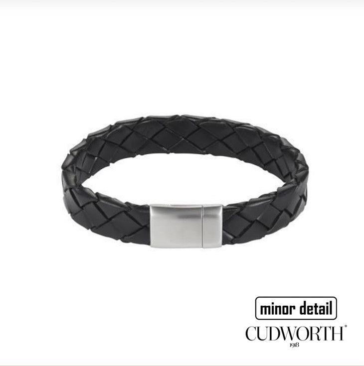 Cudworth Nero Black Italian Leather Bracelet