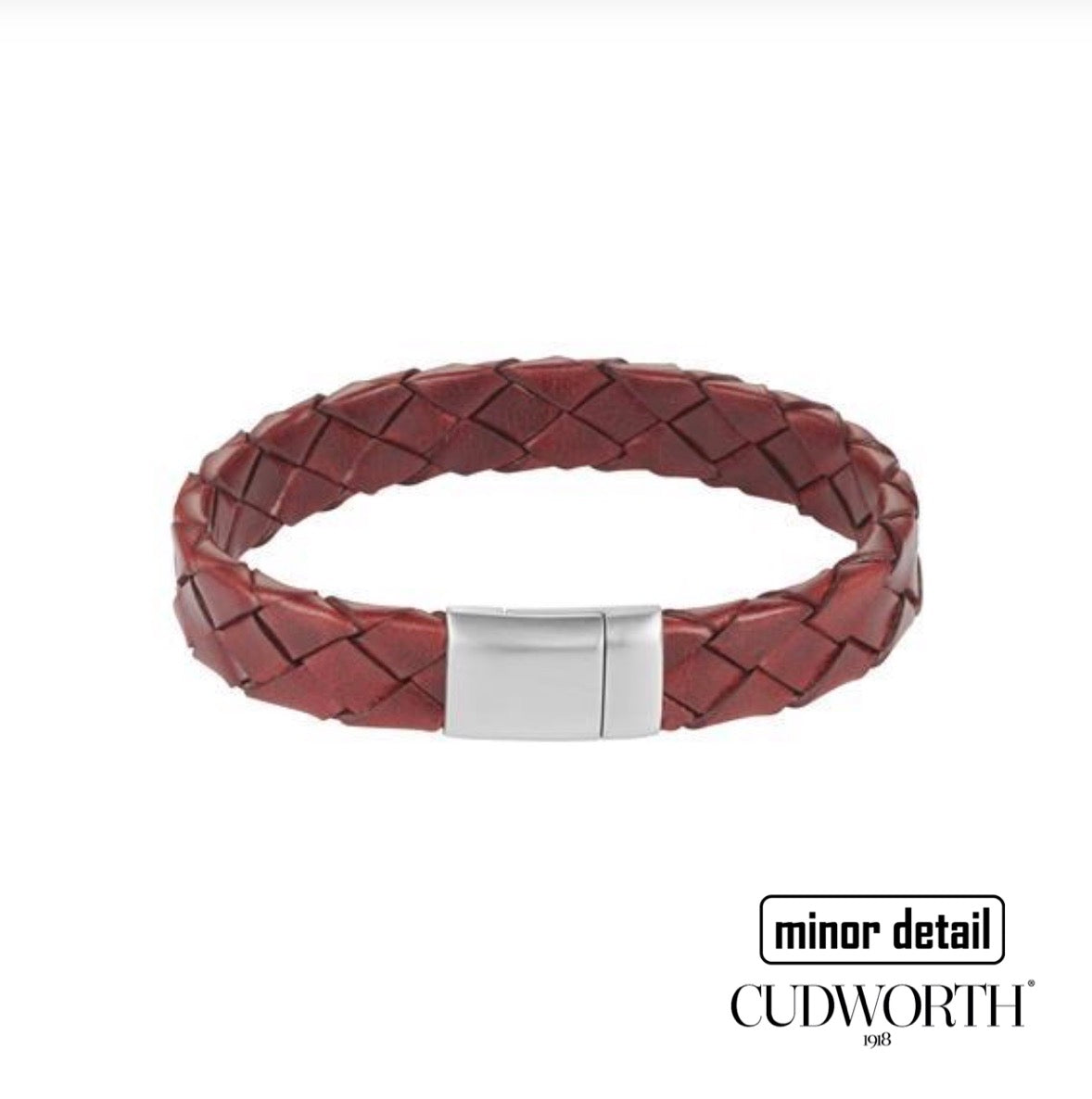 Mens Woven Bracelet by Cudworth in Italian Oxblood Red Leather