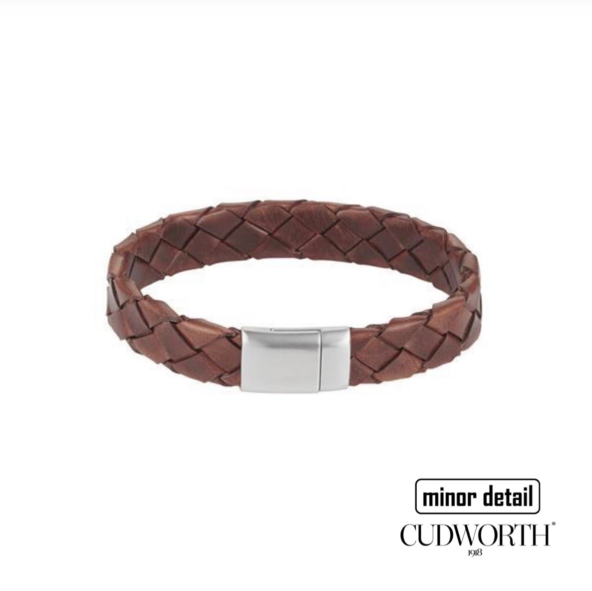 Mens leather bracelet in tobacco brown colour with stainless steel clasp