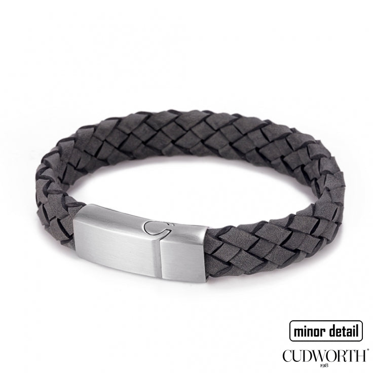 Mens Italian Woven Leather Bracelet in Grey leather with Steel Clasp - by Cudworth Jewellery Australia