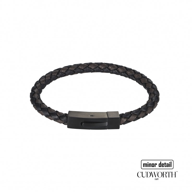 Cudworth Men's Nero Black Italian Leather Bracelet