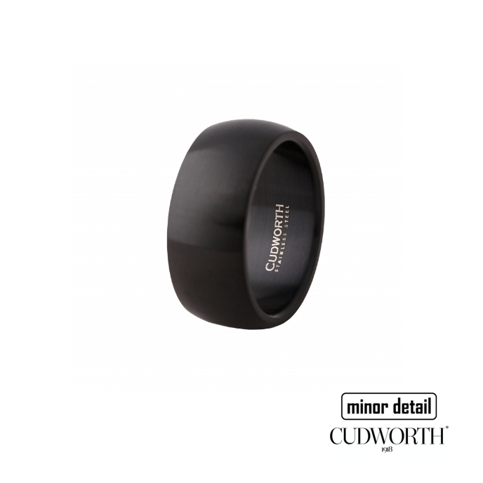 Cudworth Men's Brushed Ion Plated Black Stainless Steel Ring