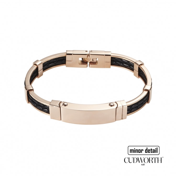 Rose Gold Frame Black Leather Bracelet by Cudworth Australia