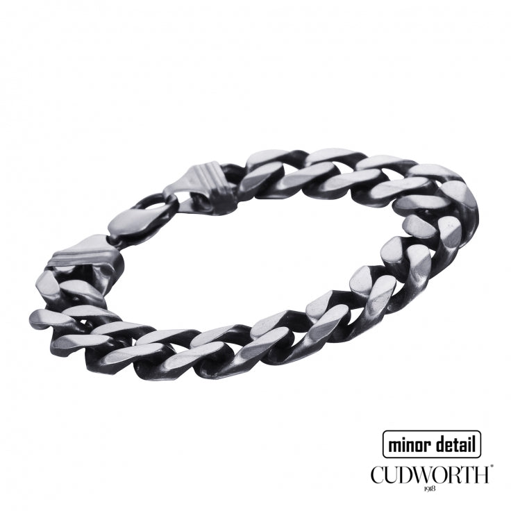 Chunky Curb Link chain bracelet in 925 Sterling Silver with oxidised finish by Cudworth Men's jewellery
