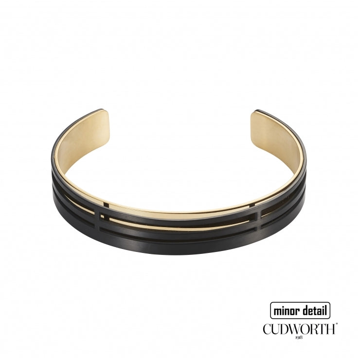 Mens Black and Gold Steel Cuff Bracelet by Cudworth Mens Jewellery Australia
