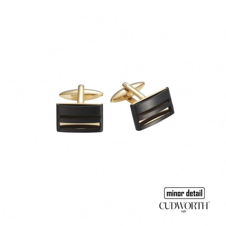 Cudworth Cufflinks in Ion Plated Gold and Black Steel
