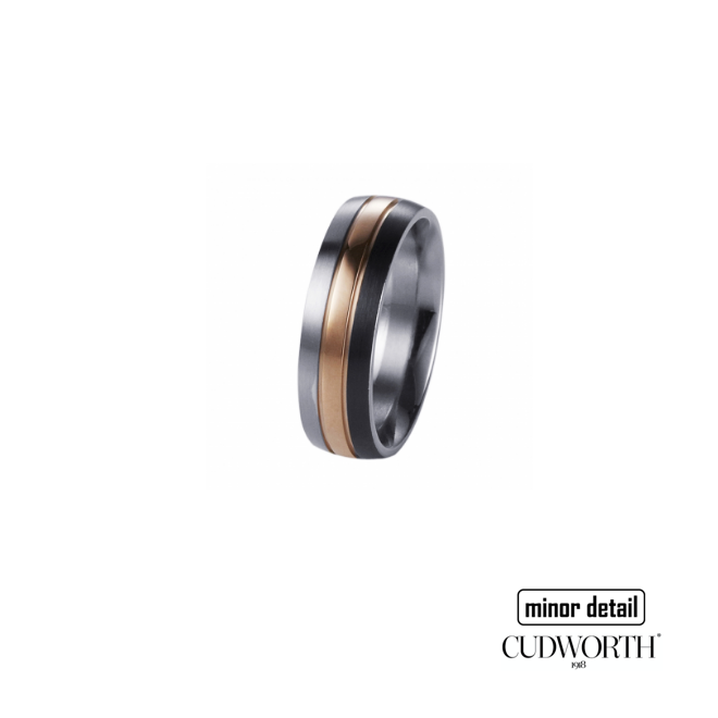 Cudworth Men's Brushed Stainless Steel, Ion Plated Rose Gold and Gun Metal Ring