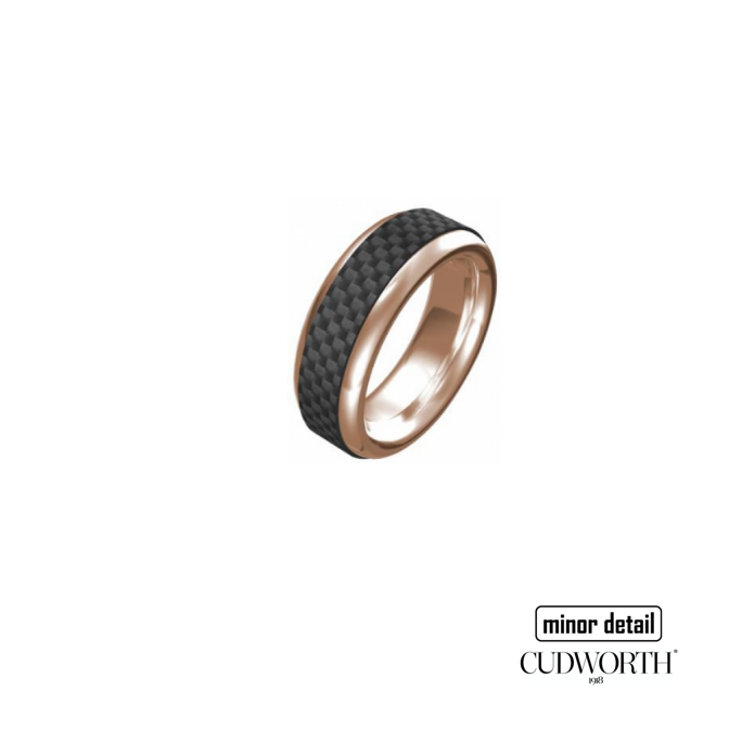 Mens Rose Gold Carbon Fibre Ring by Cudworth Sydney