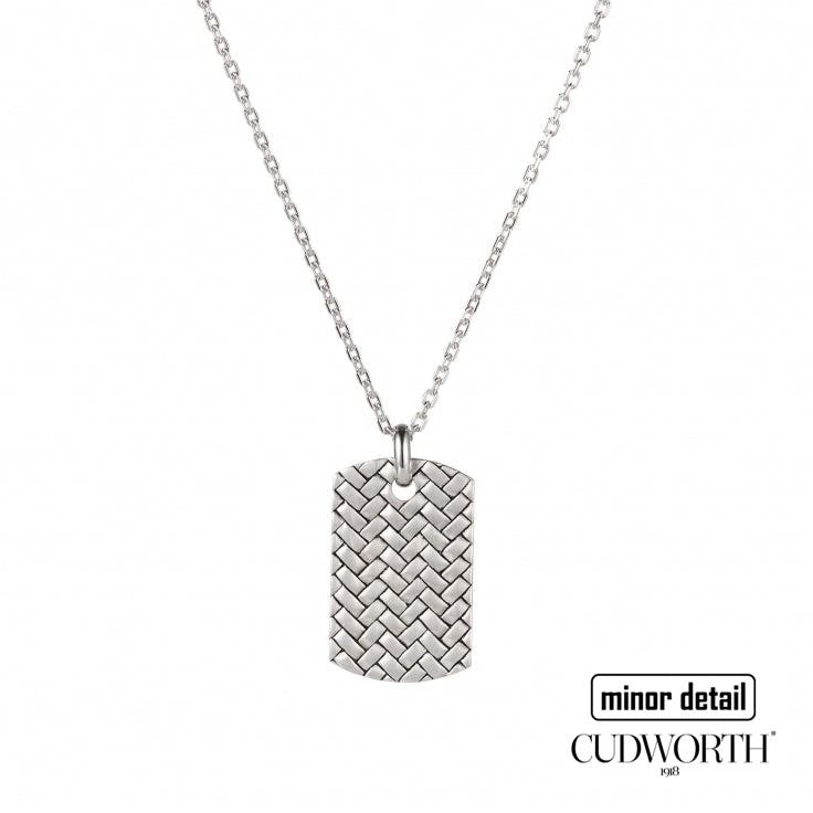 Cudworth Mens Silver Woven Dog Tag Design Necklace