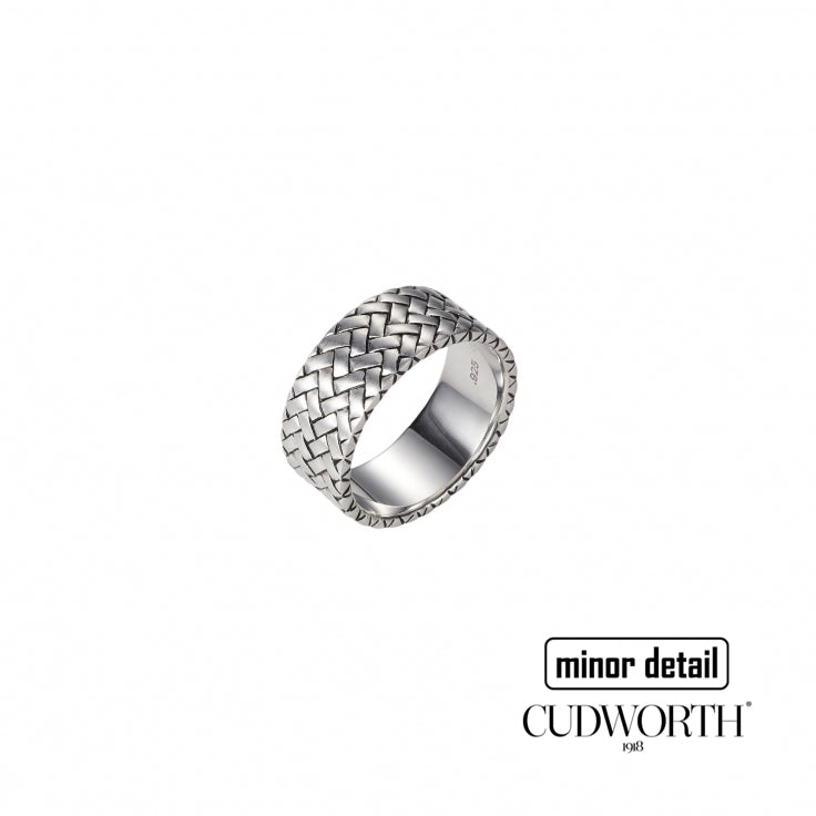 Mens Sterling Silver Woven Pattern Ring for Men by Cudworth Jewellery Australia