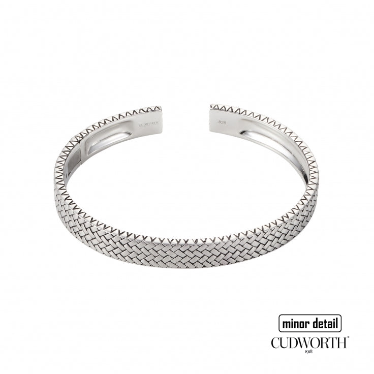 Woven Pattern Rhodium Plated Bangle by Cudworth Australia
